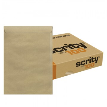 Envelope 200 X 280 Pardo Saco Kraft Natural SKN328  Scrity 100 Unidades