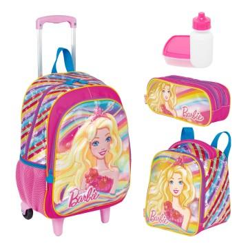 Kit Mochila Infantil Barbie 19X Lancheira Estojo Sestini