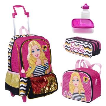 Kit Mochila Infantil Barbie 19Z Lancheira Estojo S...