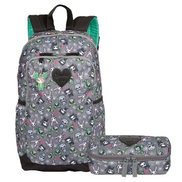 Kit Mochila De Costas Feminina Magic Cactus e Estojo Sestini