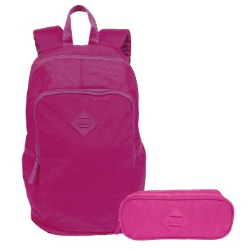 Kit Mochila De Costas Feminina Magic Rosa e Estojo Sestini