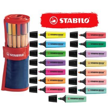 Kit Stabilo Lettering Marca Texto Caneta Neon Pastel 40 peças