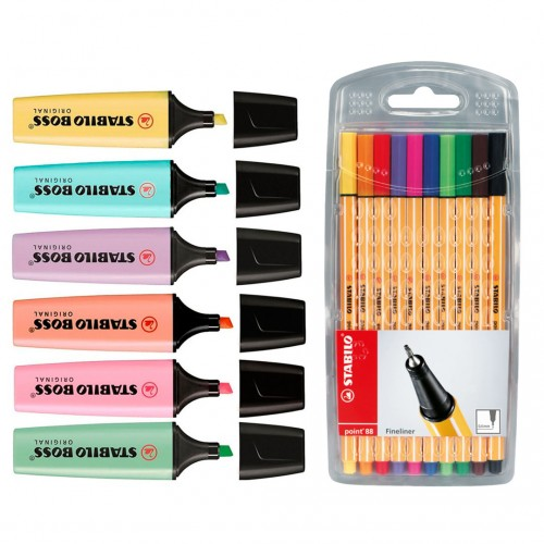 Kit Marca Texto Stabilo 10 Canetas Comun 6 Boss Cores Tons Pastel - Stabilo - Kit Point 88 + Boss
