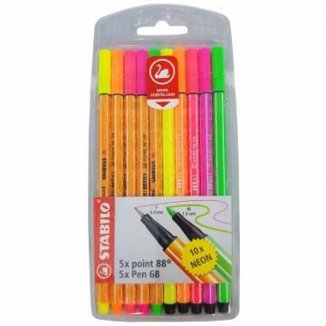 Caneta Hidrográfica Duo Point 88 Pen 68 Neon Stabilo Com 10 Cores