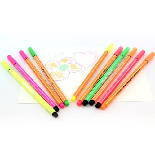 Caneta Hidrográfica Duo Point 88 Pen 68 Neon Stabilo Com 10 Cores - Stabilo - Duo Neon 8868-10-1