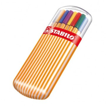 Caneta Stabilo 20 Cores Ponta 0,4 Mm Point 88 Estojo Sortidas 8820-02