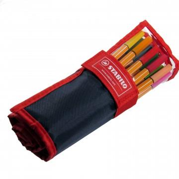 Caneta Stabilo 25 cores Ponta 0,4 mm Point 88 Estojo Tecido 8825-021