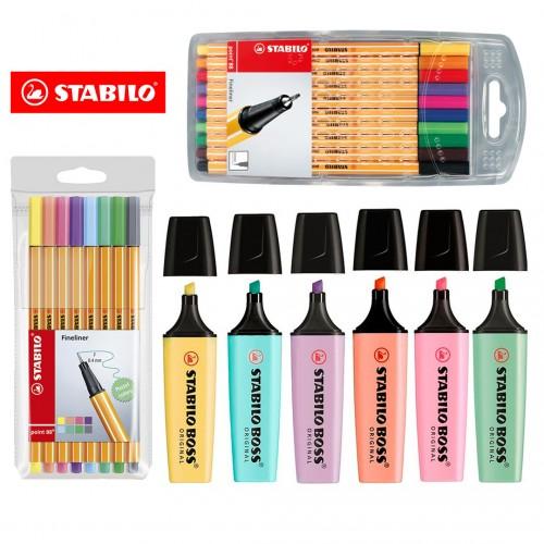 Kit Lettering Marca Texto E Caneta Stabilo Cores Neon Pastel Original 24 Pcs - Stabilo - Kit Stabilo