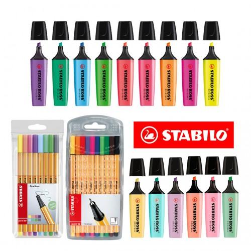 Kit Marca Texto E Caneta Stabilo Cores Neon Pastel Original 33 Pcs - Stabilo - Kit Stabilo