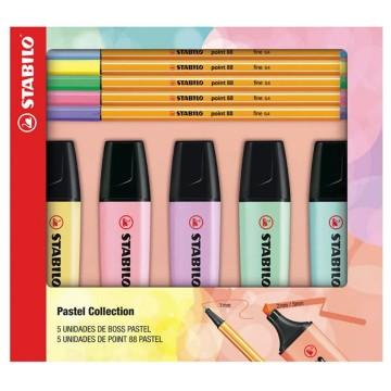Kit Pastel Collection 5 Boss + 5 Point 88 Stabilo