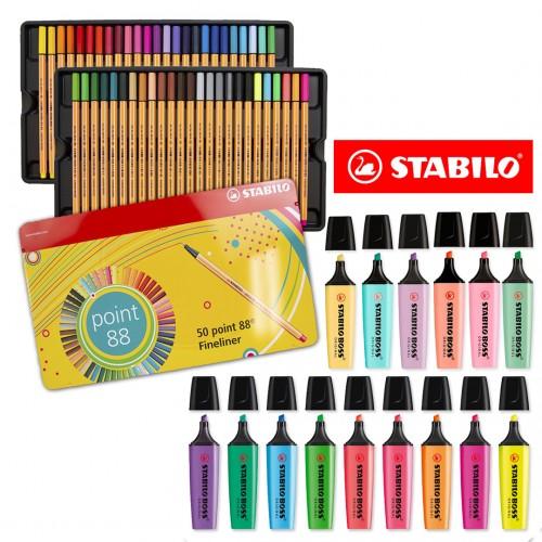 Kit Stabilo Lettering Marca Texto Caneta Neon Pastel Pro 65 Peças - Stabilo - Point 88