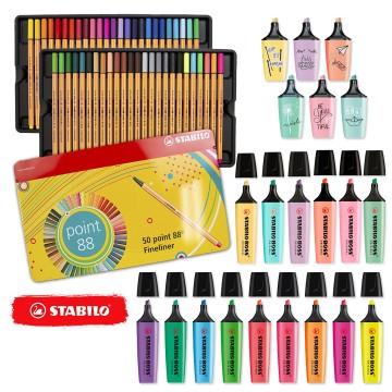 Kit Stabilo Lettering Marca Texto Caneta Neon Pastel Pro 71 Peças