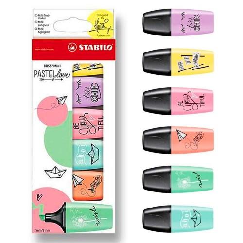 Marca Texto Boss Pastel Mini Pastel Love Stabilo 6 Cores - Stabilo - 07/06-27 Pastel Love